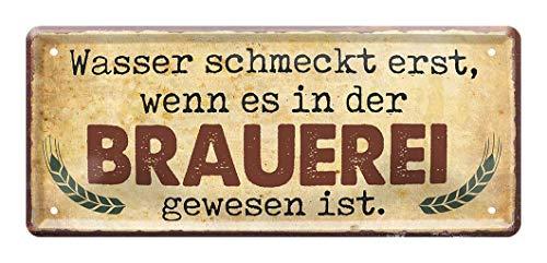 Blechschild Brauerei - Metallschild lustiger Spruch - Geschenk Männer - Geschenkset Idee - Retro Deko Küche Bar Stammtisch Biergarten Werkstatt Kneipe Pub Partyraum - Bier Blech Schild - 28x12cm