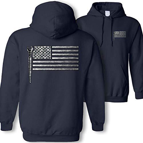 Ironworker American Flag Hooded Sweatshirt - Iron Worker Spud Wrench Camouflage USA Flag Hoodie Gift