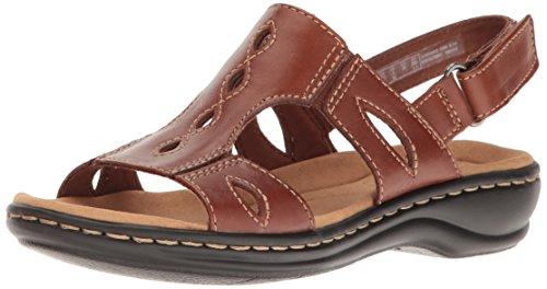 Clarks Women's Leisa Lakelyn Flat Sandal, Tan Leather, 8 M US