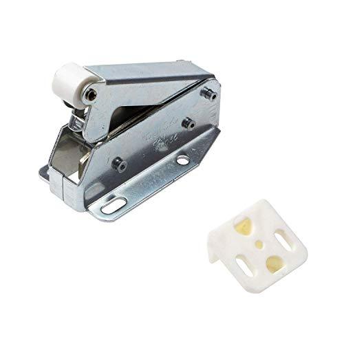 Gedotec Federschnäpper QUICK Schrank-Schnäpper Tür Druckverschluss Metall | Automatik Möbel-Schnäpper für Schranktüren & Klappen | Stahl vernickelt | 1 Stück - Federschnapp-Verschluss mit Gegenstück