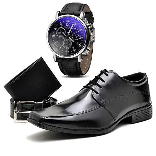 Kit Sapato Social Com Relógio Cinto Carteira Verniz Com Cadarço Top Flex R804DB Tamanho:40;cor:Preto;gênero:masculino