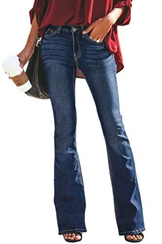 Suvimuga Mujer Vaqueros Acampanados Pantalones Largos Elástico Cintura Alta Retro Flared Jeans P M