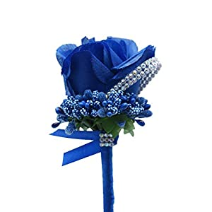 Silk Flower Arrangements KUKISHOP 2 PCS Wedding Boutonniere Artificial Flower Groom Groomsman Corsage Rose Silk Suit for Wedding Prom Homecoming Royal Blue