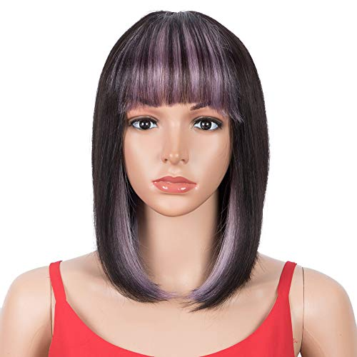 SPOTLIGHT Short Bob Wigs With Bangs Human Hair 10 inch Hidden Purple Wig with Natural Black Color 130% Density Straight Bob Wigs for Black Women