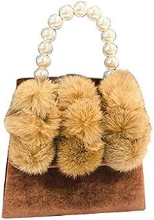 TOOGOO Women'S Pearl Handle Totes Handbags Rabbit Fur Bag Box Evening Bag Vintage Female Top-Handle Purse Shoulder Bag Brown