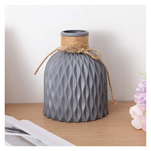 Mjwlgs Modernos Jarrones Florero de Flores Inicio Arreglo de Flores Sala de Estar Origami Plástico Estilo nórdico Decoración del hogar Ornamento Decoración para el hogar (Color : Gray Vase)