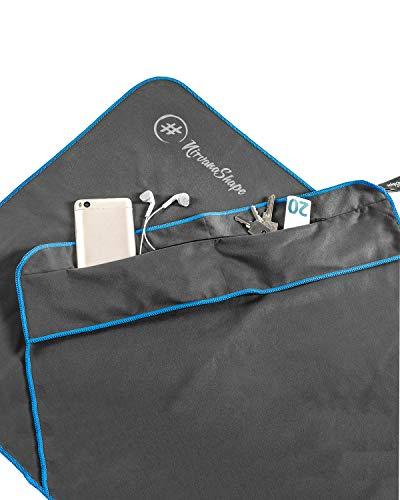 NirvanaShape  Toalla de Gimnasio   Toalla de Microfibra Resistente con Clip Magnético   Elegante y Funcional   Ultra Absorbente y Compacta   Toalla de Deporte Gimnasio (Gris/Borde Azul)