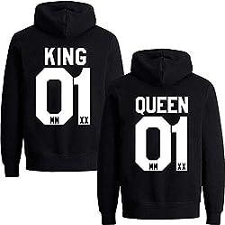 Couples Shop King Queen Hoodie Pullover Set für Paare (Herren King, Schwarz 3XL)