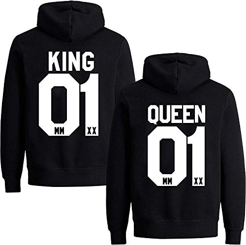 Couples Shop King Queen Hoodie Pullover Set für Paare (Damen Queen, Schwarz M)