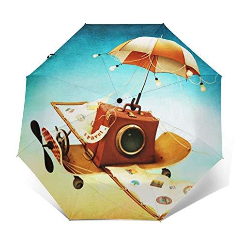 Regenschirm Taschenschirm Kompakter Falt-Regenschirm, Winddichter, Auf-Zu-Automatik, Verstärktes Dach, Ergonomischer Griff, Schirm-Tasche, Travel Flying Skateboard Buch