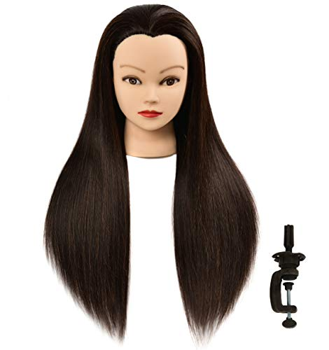 """Price comparison product image FUGUIRENHAIR 30"""" 15% Human Hair Mannequin Head Hair Styling Training Head Manikin Cosmetology Doll Head Synthetic Fiber Hair with Free Clamp Holder"""
