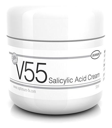 V55 Crema Acido Salicilico Per Foruncoli Punti Neri Macchie e Problema Della Pelle SENZA Parabeni 50 Grammi