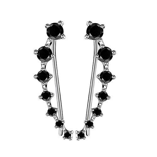 Silber CZ Diamant Ohr Kletterer minimalistischen Ohr Crawler Ohrringe Silber Ohr Pins Kristall zierliche Earcuffs zierliche gekrümmte Linie Ohrringe Crawler(schwarz)