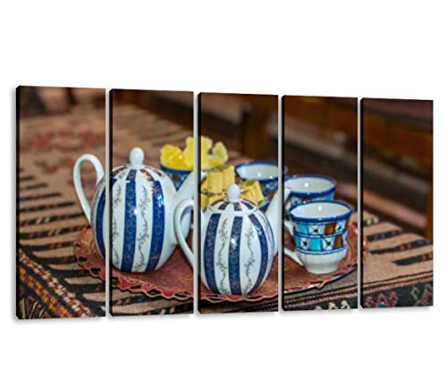 KiiAmy 5 Panels Art Wall Decor teapots and Cups in an Traditional Tea House Tea Ceremony Artwork Modern Canvas Prints Office Bedroom Home Decor Framed Painting Ready to Hang (60''Wx32''H)
