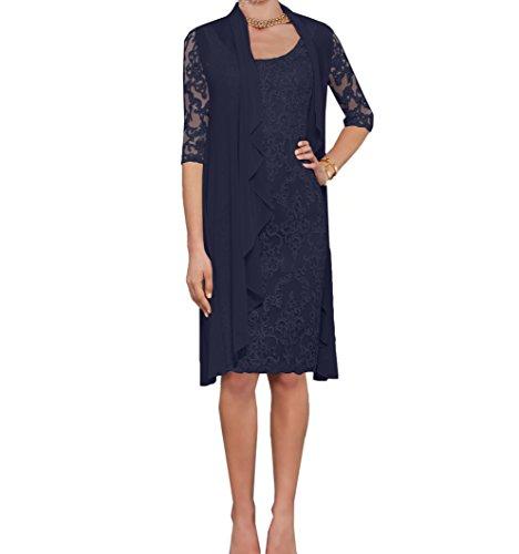 Charmant Damen Navy Blau Spitze Abendkleider Etuikleider Brautmutterkleider mit Langarm Bolero-44 Navy Blau
