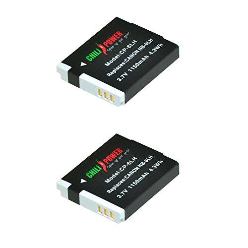 ChiliPower 2-Pack NB-6LH (1200mAh) Batería para Canon PowerShot D10, D20, D30, ELPH 500 HS, S90, S95, S120, SD770 IS, SD980 IS, SD1200 IS, SD1300 IS, SD3500 IS, SD4000 IS, SX170 IS, SX240 HS, SX260 HS, SX270 HS, SX280 HS, SX500 IS, SX510 HS, SX520 HS, SX600 HS, SX700 HS
