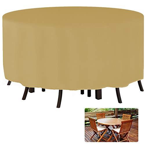 YGWQ Muebles de Jardín Funda, Redondo Mesa de Jardín Funda Impermeable Resistente Circular Exterior Patio Mobiliario Refugio Funda Anti-UV Mesa de Comedor Silla Funda Antipolvo