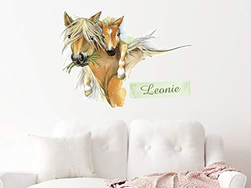 GRAZDesign Wandtattoo Pferd mit Namen Mädchen - Wandbild über Bett - Pferde Wandsticker Kinderzimmer - Wand Deko für Tapeten / 79x57cm
