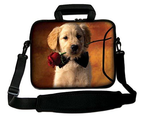 Luxburg schoudertas, 10 inch, zacht, voor notebooks, met greep, design: hond met roos