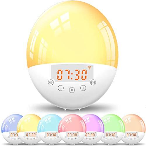 CCHKFEI Smart Wake Up Lichtwecker mit App und Sprachsteuerung, 7 Farben, Nachttisch-Nachtlicht mit Sonnenaufgang/Sonnenuntergangssimulation, Dual-Alarme, Schlummerfunktion, FM-Radio