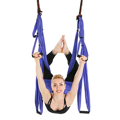 Zer one Amaca Fitness Yoga, Amaca per Pilates, Antigravity Yoga con Moschettoni e Daisy Chain(Viola)