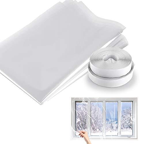 Isolierte Fensterfolie, Staub- und ölbeständige transparente Folie zur fensterisolierung,DIY Thermofolie für Fenster,Einstellbare Fensterisolierungssatz mit Schlaufenband und Hakenband(78