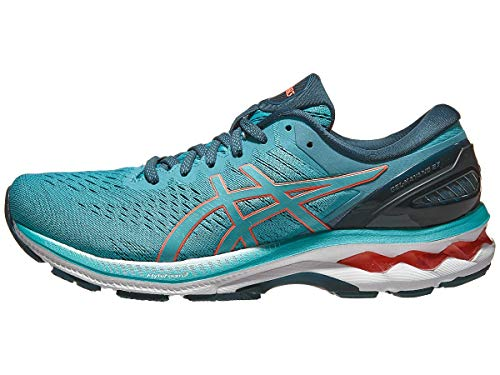 Asics Damen-Laufschuhe Gel-Kayano 27, Blau (Techno Cyan/Sunrise Red), 39 EU