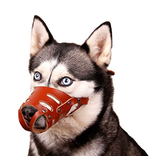 Hondenmand, zacht rundleer, anti-bijt, mand, anti-Bell, trainingsmand, verstelbare dog muzzle, antibark voor Labrador Husky German Shepherd Dog, Medium, bruin