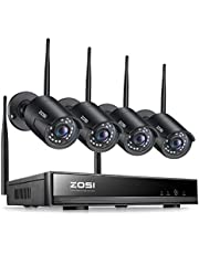 ZOSI 1080P Wireless Security Camera System, H.265+ 8 Channel 2MP CCTV NVR Recorder and 4pcs 1080P Auto Match WiFi IP Camera Outdoor Indoor,Night Vision,Motion Alert, Remote Access (No Hard Drive)