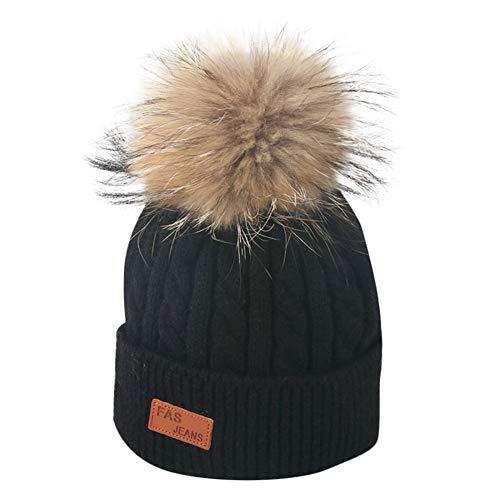 Topgrowth Cappello Cappellini Neonato Invernale di Lana Lavorato Bambino Cappelli Bambina Carina Berretto A Maglia con Pom