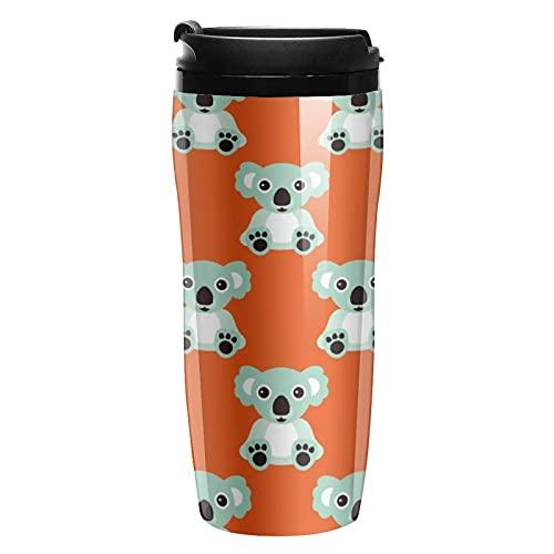 Tazas de café reutilizables, taza de viaje de café con tapa a prueba de fugas, taza de viaje de plástico para bebidas calientes y frías, retro colorido Koala Bear Baby