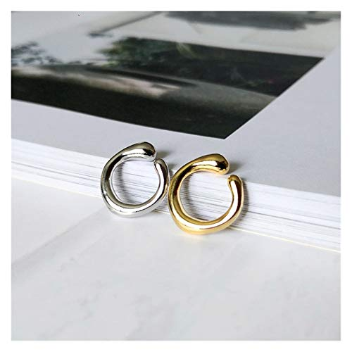 CHENGTAO Gold Earrings Without Piercing Round Ear Cuff Minimalist Cartilage Earrings For Women Jewelry (Metal Color : Gold1pcs Silver1pcs)