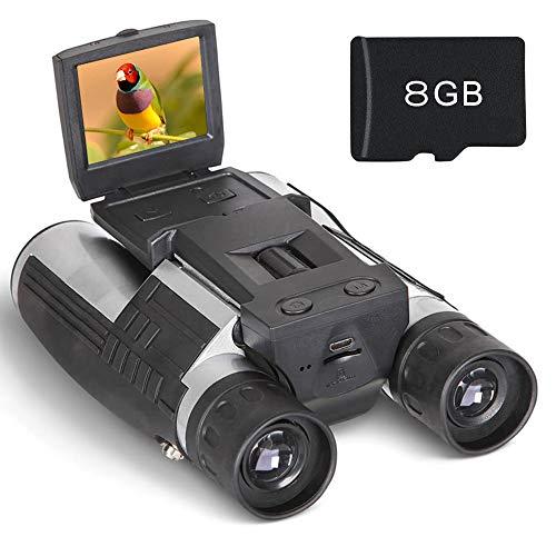 """Binocular Cámara Digital Prismáticos Cámara Pantalla LCD HD 2"""" FHD 1080P Digital Vídeo 12 x 32 5MP Grabadora de Vídeo y Foto con Tarjeta de 8GB TF Gratis para Observar Pájaros"""