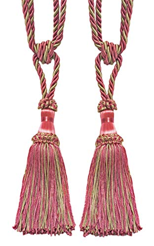DÉCOPRO Pair of Candy Pink, Light Green Decorative Chainette Tiebacks, 15cm Tassel Length, 76cm Spread (Embrace), Style# ECTB Color: Rose Bud - 642
