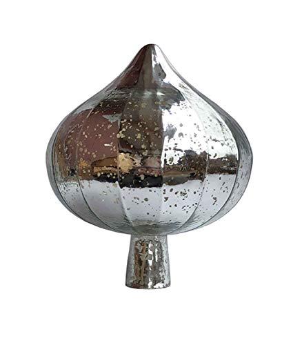 HFG Rosenkugel Zwiebel Glas Silber Durchmesser 19 cm Gartenkugel Gartendeko Gartenstele