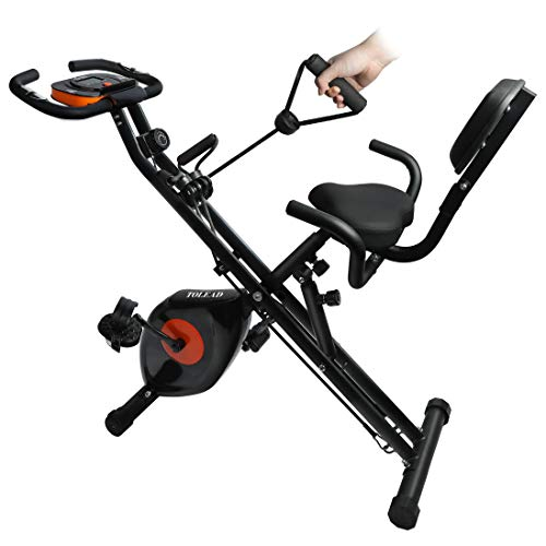 TOLEAD X-Bike, Exercise Folding Bike, Magnetic Upright-Recumbent Bicycle with Arm Resistance Bands, Heart Monitor and Adjustable Seat, Perfect for Home Workout/Indoor Gym, Black