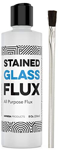 commercial 8 oz Liquid Zinc Flow for Stained Glass, Soldering, Glass Repair, etc. – Easy to Clean –… glass soldering kit