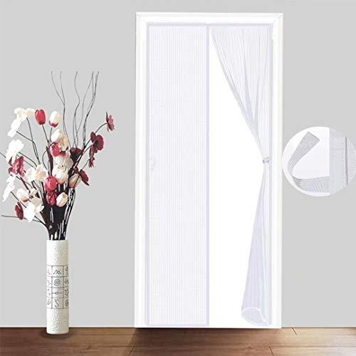 JIANJIAO Pantalla magnética para puerta, antiinsectos, mosquitos, mosca, patio, porche, exterior, balcón, cortinas de malla, plegables, fáciles de cerrar, color blanco, 80 x 210 cm