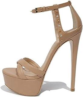 High Heel Platform Black Sandals Rivets Platforms Nude Stiletto Heels Ladies Summer Heeled Party Dress Shoes (Color : Comp...