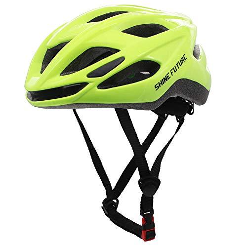 Casco da bici per adulti, casco da bici leggero Casco da bici con luce LED Casco da bici MTB leggero certificato CE CPSC Taglia regolabile (Verde fluo)