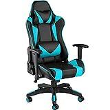 TecTake 800728 Bürostuhl Racing Gaming Stuhl mit hoher Rückenlehne inkl. Lordosenstütze und Nackenkissen - Diverse Farben - (schwarz-Azur | Nr. 403206)