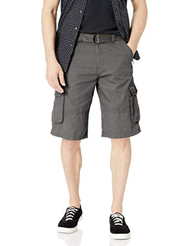 Southpole Men's All-Season Belted Ripstop Basic Cargo Short-Reg and Big & Tall Sizes, Dark Grey/New, 36