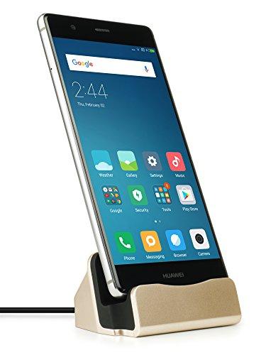 MyGadget USB C Docking Station - Base Estación de Carga para Samsung Galaxy S10 S9 (Edge) Plus, Huawei Mate 20 / P20 / P30 (Pro) / Xiaomi Mi 9 - Dorado