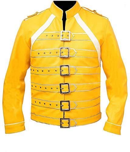 EU Fashions Fre-ddie Mercury - Disfraz de chaqueta de color amarillo y blanco