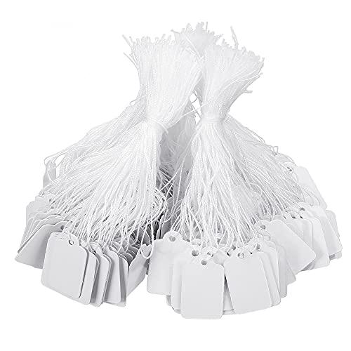 1000 etiquetas de precio de joyería con cadena adjunta, etiquetas de marcado con cuerda elástica, etiquetas de visualización de ropa, etiquetas de precio de papel (blanco) ⭐