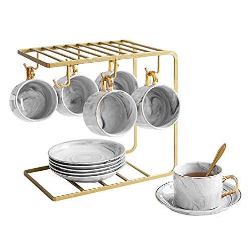 Juego de taza de café y platillo de estilo europeo creativo hogar taza de té de cerámica Set de té de la tarde británica con soporte para taza gris