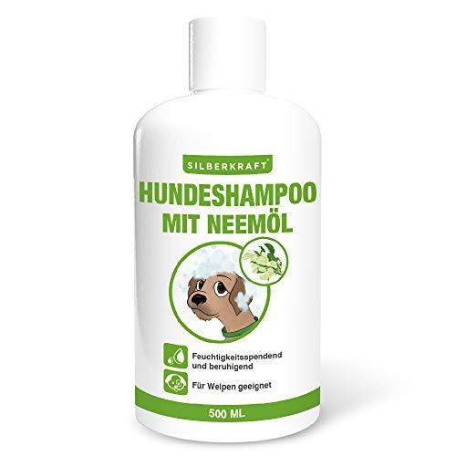 Silberkraft Hundeshampoo 500 ml mit Neemöl, feuchtigkeitsspendendes Shampoo für Hunde, pflanzliches Pflegeprodukt, für glänzendes und gesundes Fell, auch für Welpen geeignet