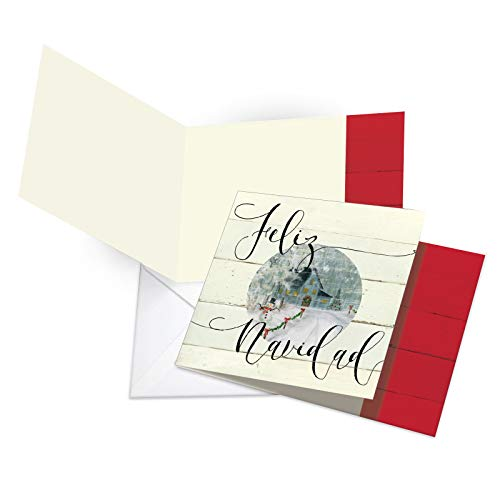 12 Boxed 'Muy Bueno Holidays' Blank Christmas Note Cards w/Envelope 4.8 x 6.6 Inch - Painted Spanish Square-Top Merry Xmas Greetings - Feliz Navidad Tarjeta - Stationery Notecard Set CQ4981CXSB-B12