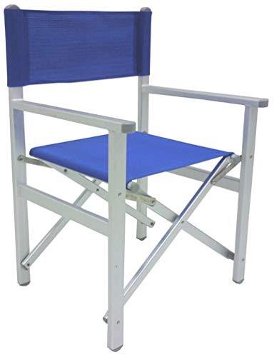 Savino Fiorenzo Sedia Pieghevole da Regista Prendisole Blu Lusso in Alluminio antiruggine per Mare Campeggio Spiaggia stabilimento Piscina Giardino