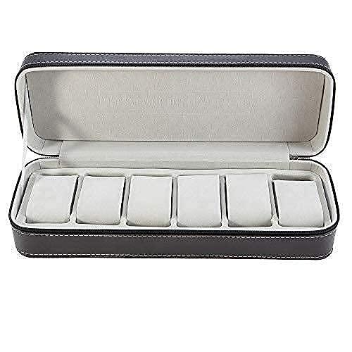 Caja de relojes 6 cabinas de cuero reloj cremallera bolsa de almacenamiento portátil joyería almacenamiento exhibición